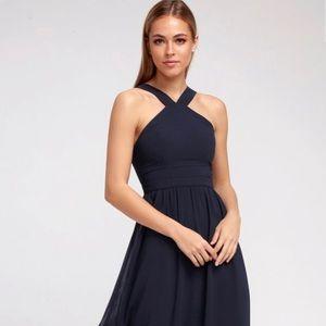 Lulu Air of romance navy maxi dress